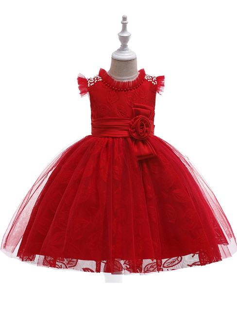 In Stock:Ship in 48 Hours Red Tulle Lace Girl Dress With Pearls