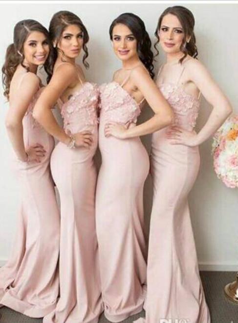 Cheap bridesmaid dresses 2017 Pink Mermaid 3D-Floral-Appliques Spaghetti Straps