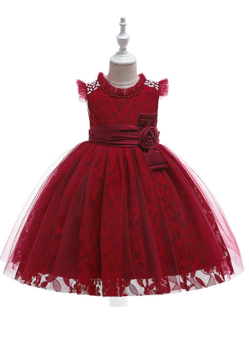 In Stock:Ship in 48 Hours Burgundy Tulle Lace Girl Dress With Pearls