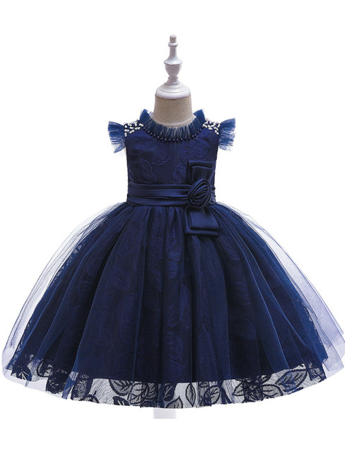 In Stock:Ship in 48 Hours Navy Blue Tulle Lace Girl Dress With Pearls