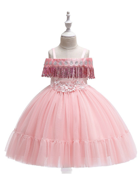 In Stock:Ship in 48 Hours Pink Straps Tulle Appliques Girl Dress