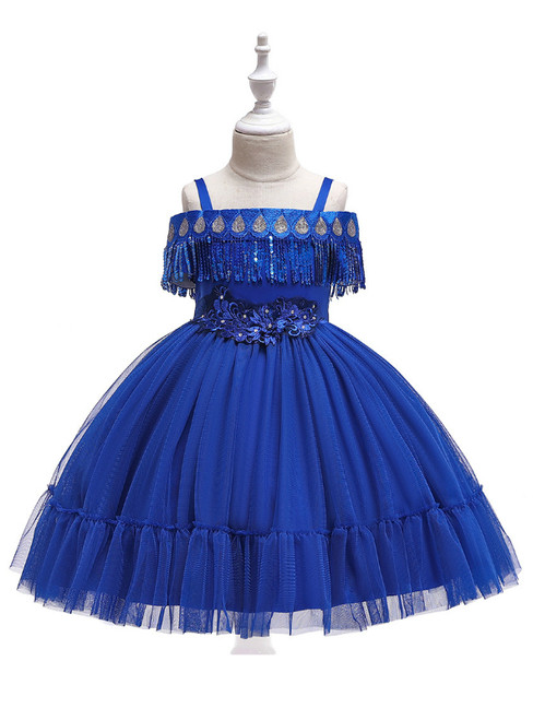 In Stock:Ship in 48 Hours Royal Blue Straps Tulle Appliques Girl Dress