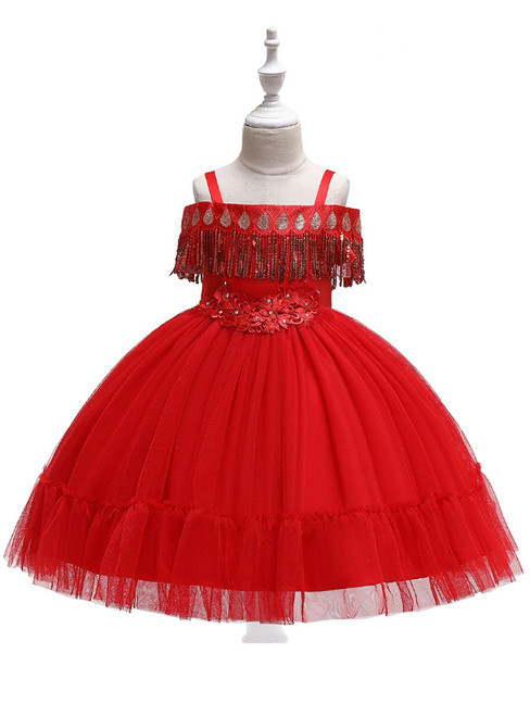 In Stock:Ship in 48 Hours Red Straps Tulle Appliques Girl Dress