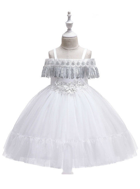 In Stock:Ship in 48 Hours White Straps Tulle Appliques Girl Dress