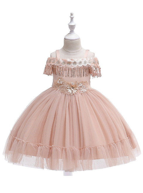 In Stock:Ship in 48 Hours Champagne Straps Tulle Appliques Girl Dress