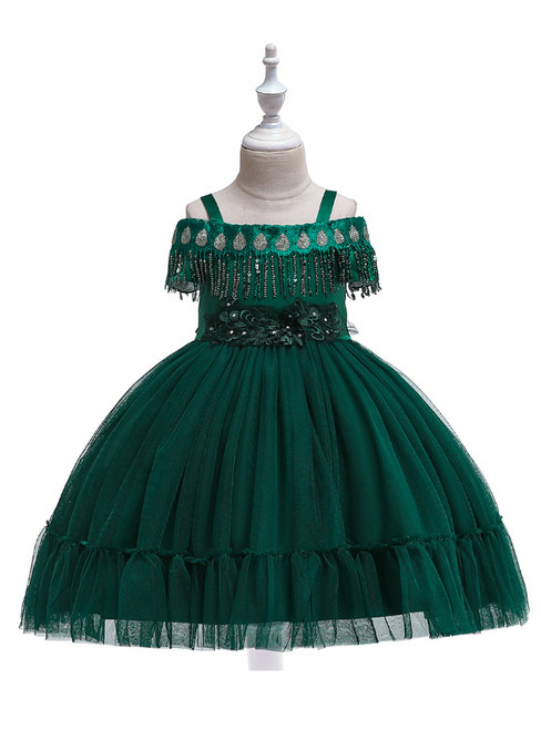 In Stock:Ship in 48 Hours Green Straps Tulle Appliques Girl Dress