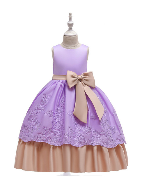 In Stock:Ship in 48 Hours Purple Satin Appliques Girl Dress With Bow