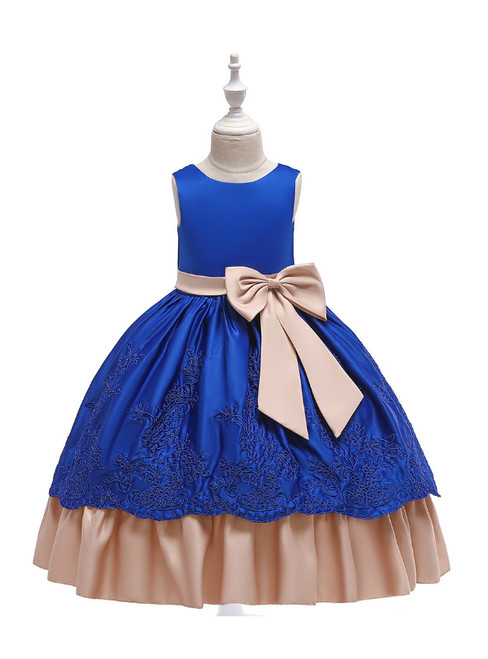 In Stock:Ship in 48 Hours Blue Satin Appliques Girl Dress With Bow