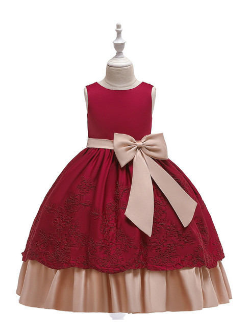 In Stock:Ship in 48 Hours Burgundy Satin Appliques Girl Dress With Bow