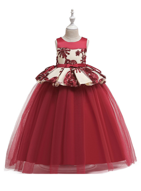 In Stock:Ship in 48 Hours Burgundy Tulle Appliques Princess Dresses