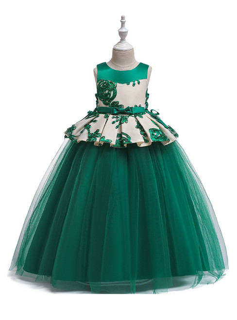 In Stock:Ship in 48 Hours Green Tulle Appliques Princess Dresses