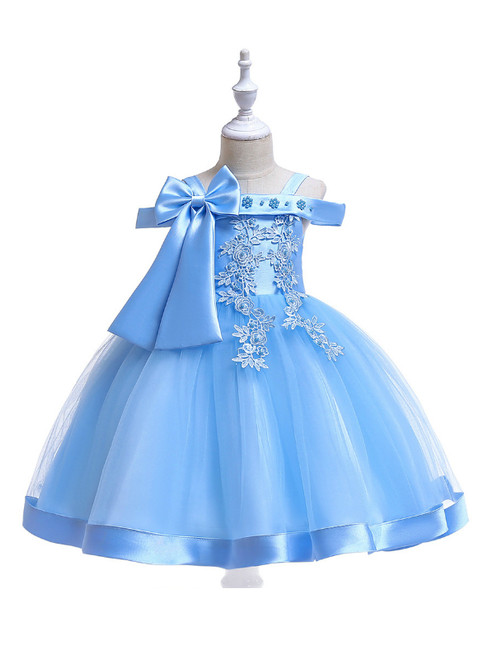 In Stock:Ship in 48 Hours Sky Blue Tulle Appliques Flower Girl Dress