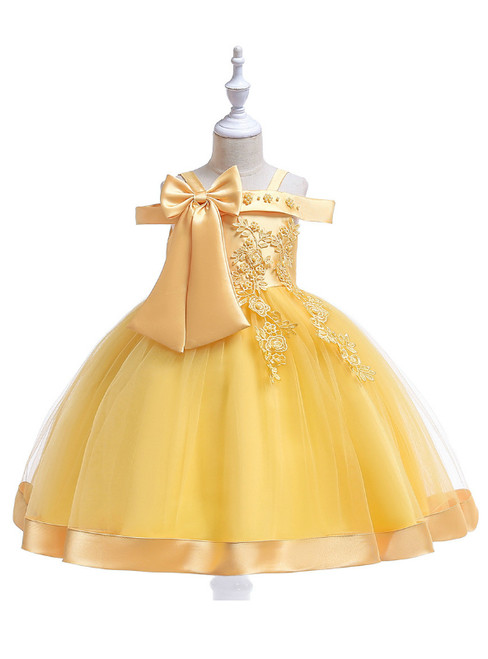 In Stock:Ship in 48 Hours Yellow Tulle Appliques Flower Girl Dress
