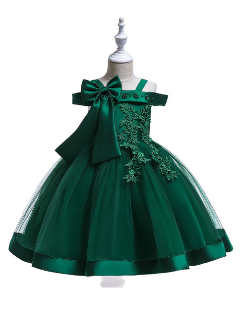 In Stock:Ship in 48 Hours Green Tulle Appliques Flower Girl Dress