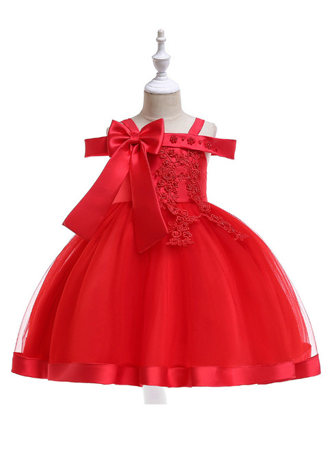 In Stock:Ship in 48 Hours Red Tulle Appliques Flower Girl Dress With Pearls Bow