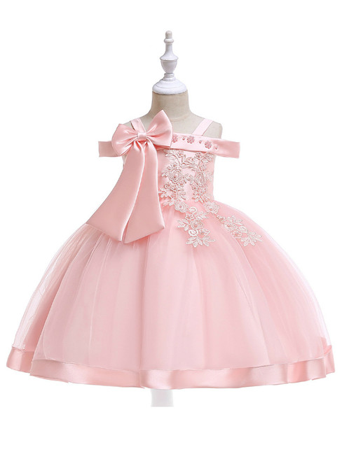 In Stock:Ship in 48 Hours Pink Tulle Appliques Flower Girl Dress With Pearls Bow