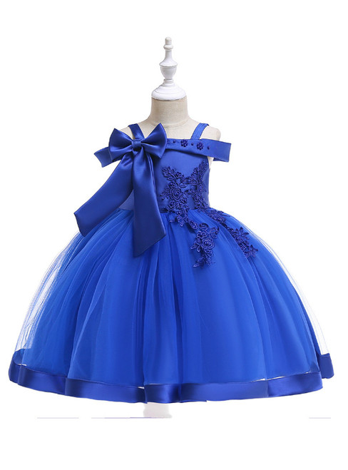 In Stock:Ship in 48 Hours Royal Blue Tulle Appliques Flower Girl Dress With Pearls Bow