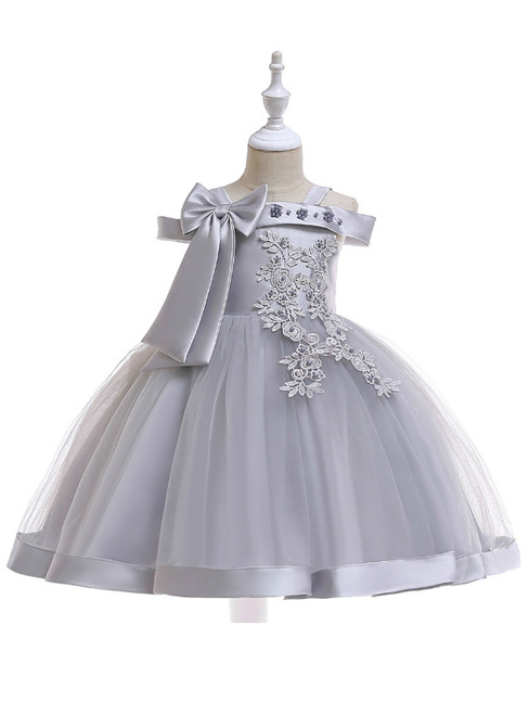 In Stock:Ship in 48 Hours Gray Tulle Appliques Flower Girl Dress With Pearls Bow