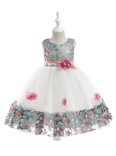 In Stock:Ship in 48 Hours White Tulle Embroidery Flower Girl Dress
