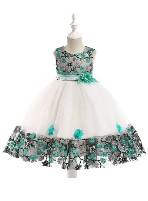 In Stock:Ship in 48 Hours White Tulle Green Embroidery Flower Girl Dress