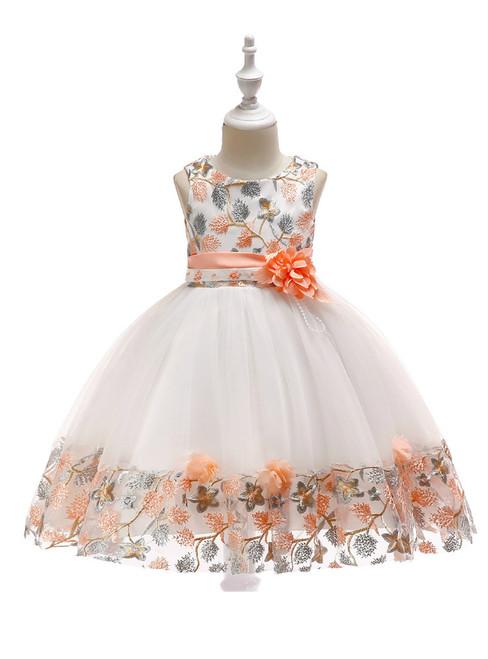 In Stock:Ship in 48 Hours White Tulle Orange Embroidery Flower Girl Dress