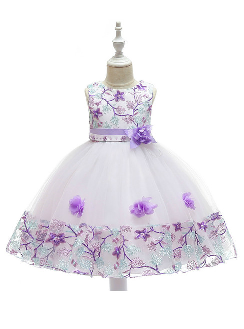 In Stock:Ship in 48 Hours White Tulle Purple Embroidery Flower Girl Dress