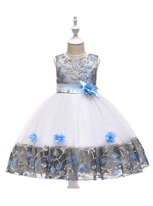 In Stock:Ship in 48 Hours White Tulle Sky Blue Embroidery Flower Girl Dress