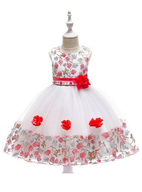 In Stock:Ship in 48 Hours White Tulle Red Embroidery Flower Girl Dress
