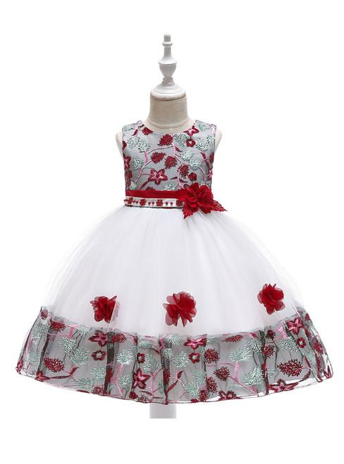 In Stock:Ship in 48 Hours White Burgundy Embroidery Flower Girl Dress