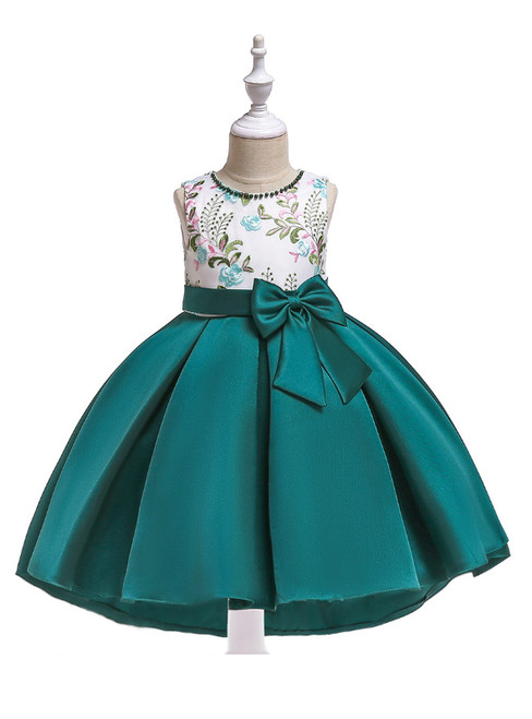 In Stock:Ship in 48 Hours Green Satin Embroidery Girl Dress With Bow