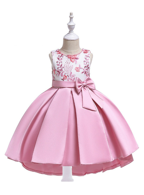 In Stock:Ship in 48 Hours Dark Pink Satin Embroidery Girl Dress With Bow