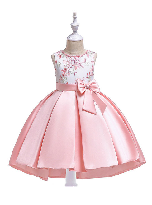 In Stock:Ship in 48 Hours Light Pink Satin Embroidery Girl Dress With Bow