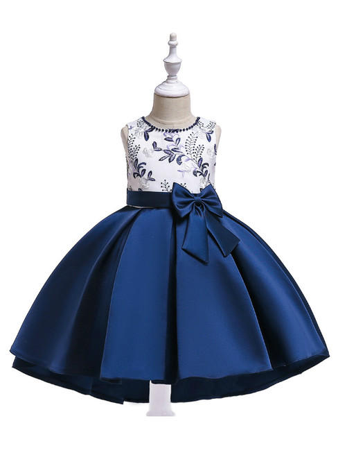In Stock:Ship in 48 Hours Navy Blue Satin Embroidery Girl Dress With Bow