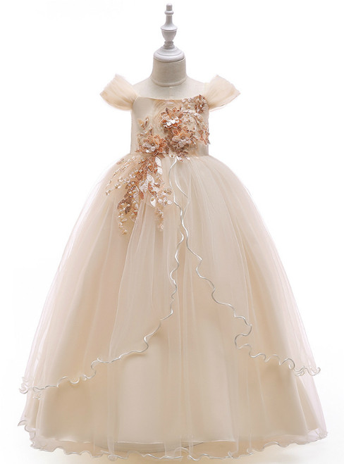 In Stock:Ship in 48 Hours Champagne Tulle Off the Shoulder  Appliques Girl Dress