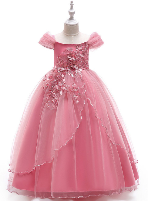 In Stock:Ship in 48 Hours Pink Tulle Off the Shoulder  Appliques Girl Dress