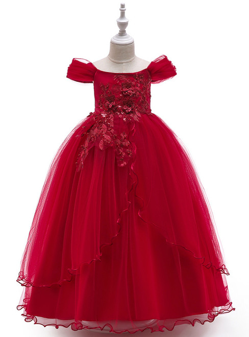 In Stock:Ship in 48 Hours Burgundy Tulle Off the Shoulder  Appliques Girl Dress