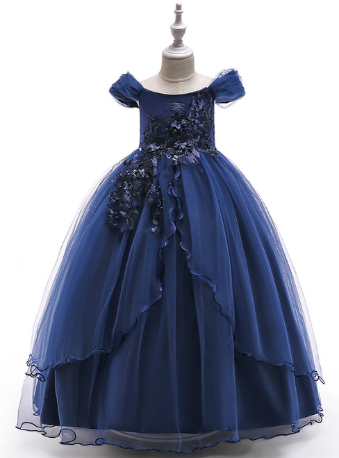 In Stock:Ship in 48 Hours Navy Blue Tulle Off the Shoulder  Appliques Girl Dress