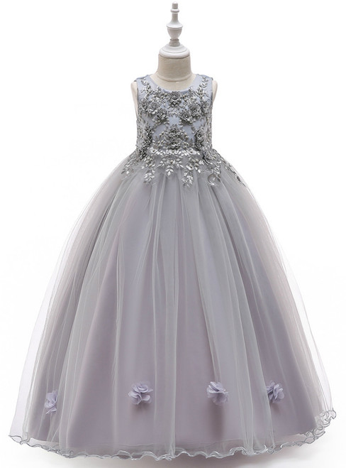 In Stock:Ship in 48 Hours Gray Tulle Appliques Pearls Princess Dress