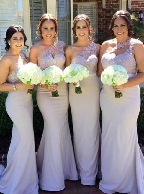 Mermaid One Shoulder Satin Appliques Floor Length Bridesmaid Dress