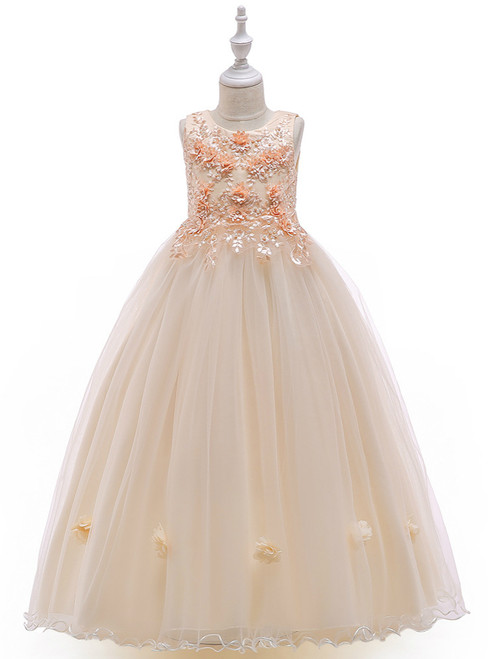 In Stock:Ship in 48 Hours Champagne Tulle Appliques Pearls Princess Dress