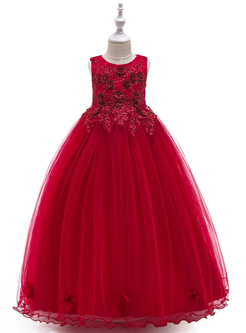 In Stock:Ship in 48 Hours Burgundy Tulle Appliques Pearls Princess Dress