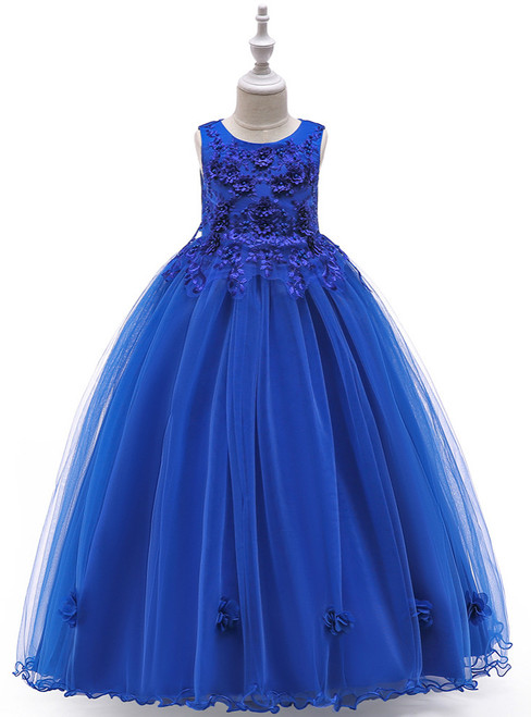 In Stock:Ship in 48 Hours Royal Blue Tulle Appliques Pearls Princess Dress