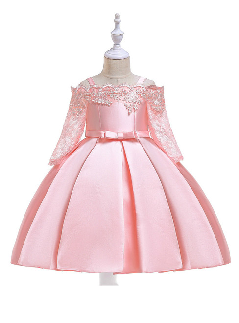 In Stock:Ship in 48 Hours Pink Satin Short Sleeve Straps Girl Dress