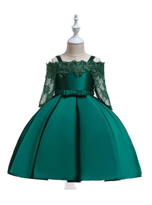 In Stock:Ship in 48 Hours Green Satin Short Sleeve Straps Girl Dress