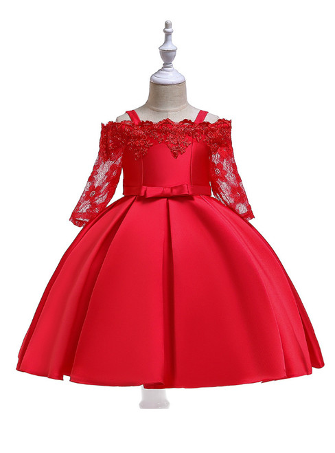 In Stock:Ship in 48 Hours Red Satin Short Sleeve Straps Girl Dress