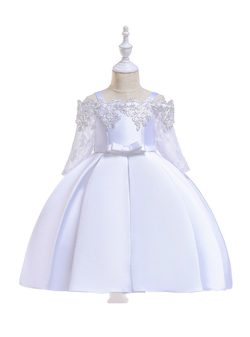 In Stock:Ship in 48 Hours White Satin Short Sleeve Straps Girl Dress