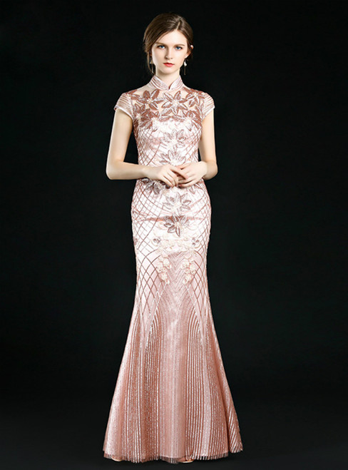 Pink Mermaid Sequins High Neck Cap Sleeve Mother Of The Bride Dress