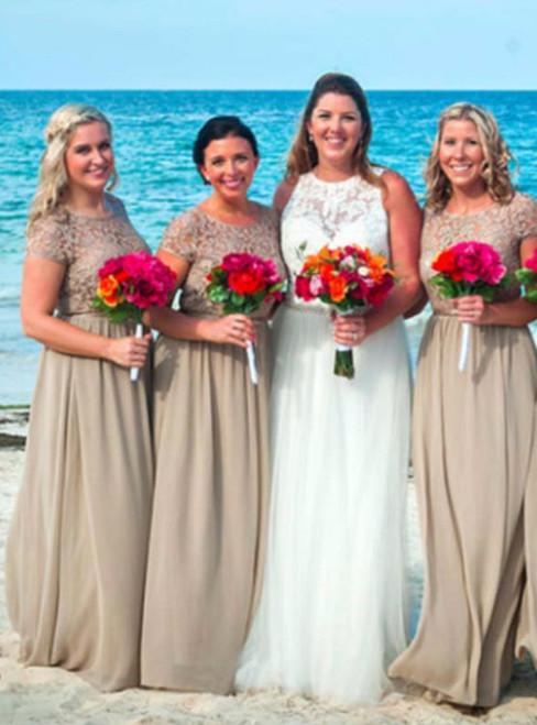 Beach Lace Bridesmaid Dress With Short Sleeve  Floor Length Chiffon Bridesmaid Dress Long