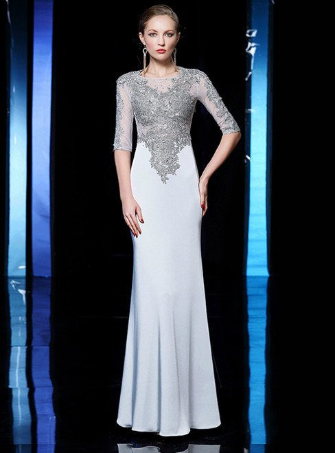 Silver Gray Mermaid Satin Short Sleeve Appliques Beading Mother Of The Bride Dress