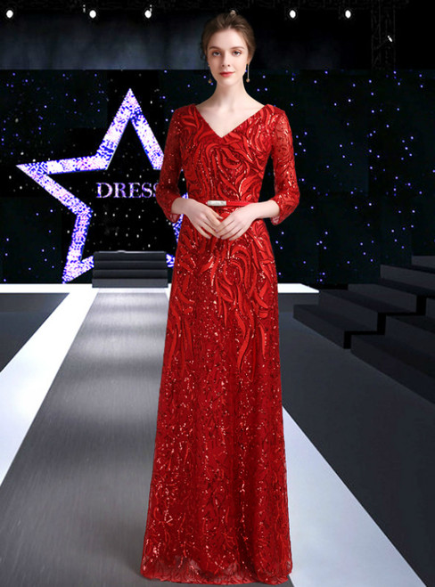Red Tulle Sequins V-neck 3/4 Sleeve Mother Of The Bride Dress With Sash